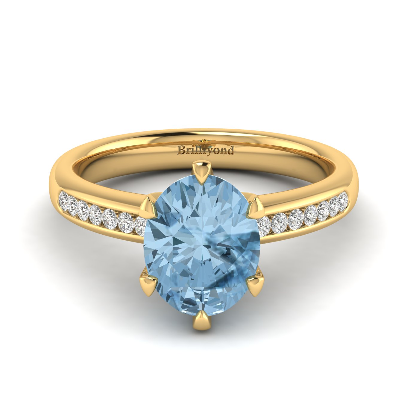 Aquamarine Yellow Gold Oval Engagement Ring Nymph_image2