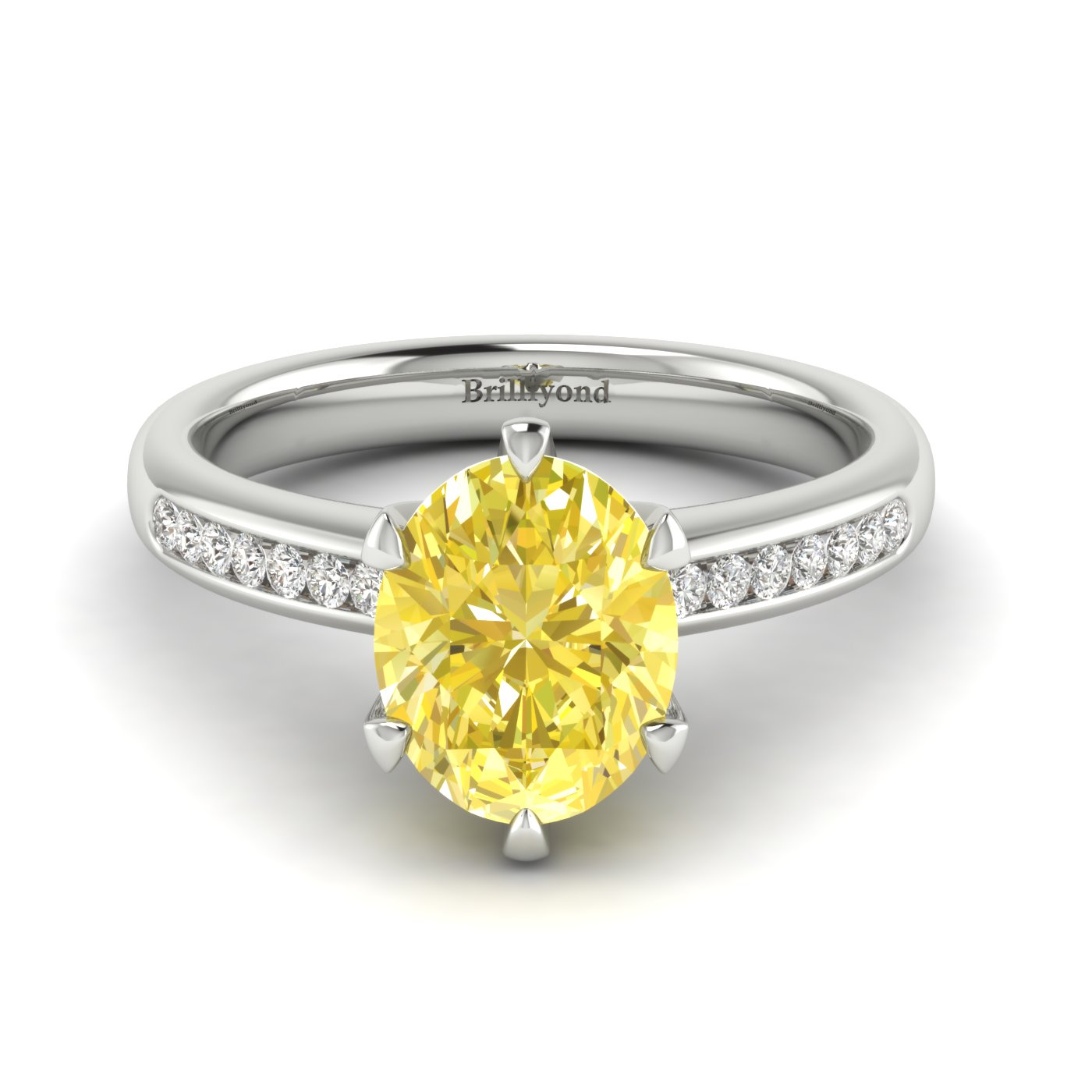 Yellow Sapphire White Gold Oval Engagement Ring Nymph_image1