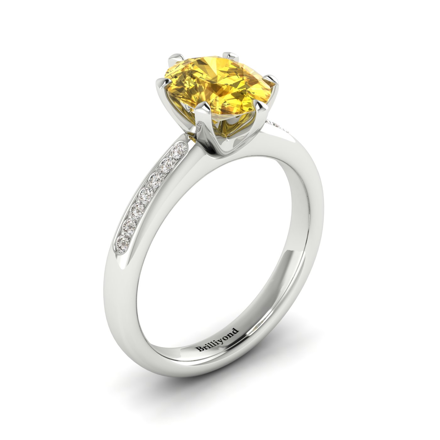 Yellow Sapphire White Gold Oval Engagement Ring Nymph_image2