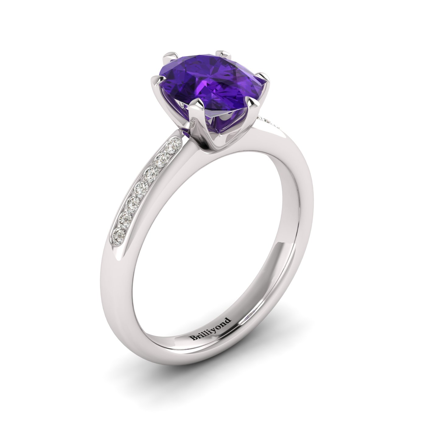 Amethyst White Gold Oval Engagement Ring Nymph_image1