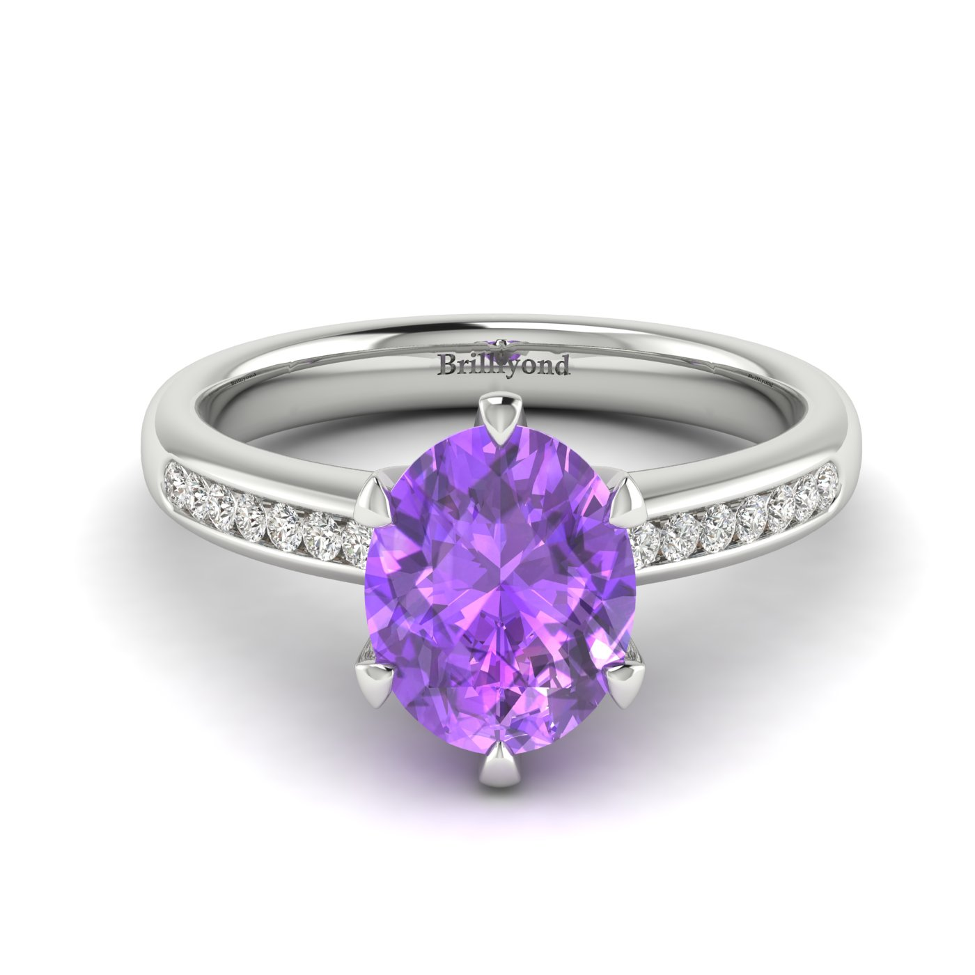 Amethyst White Gold Oval Engagement Ring Nymph_image2