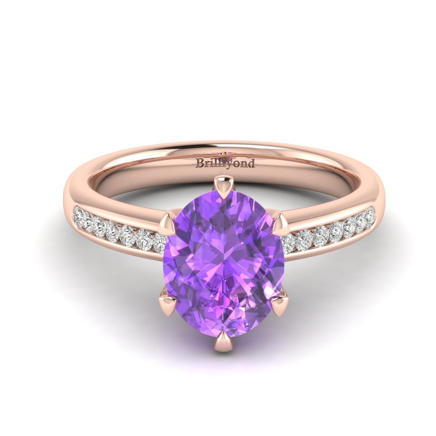 Amethyst Rose Gold Oval Engagement Ring Nymph_image1