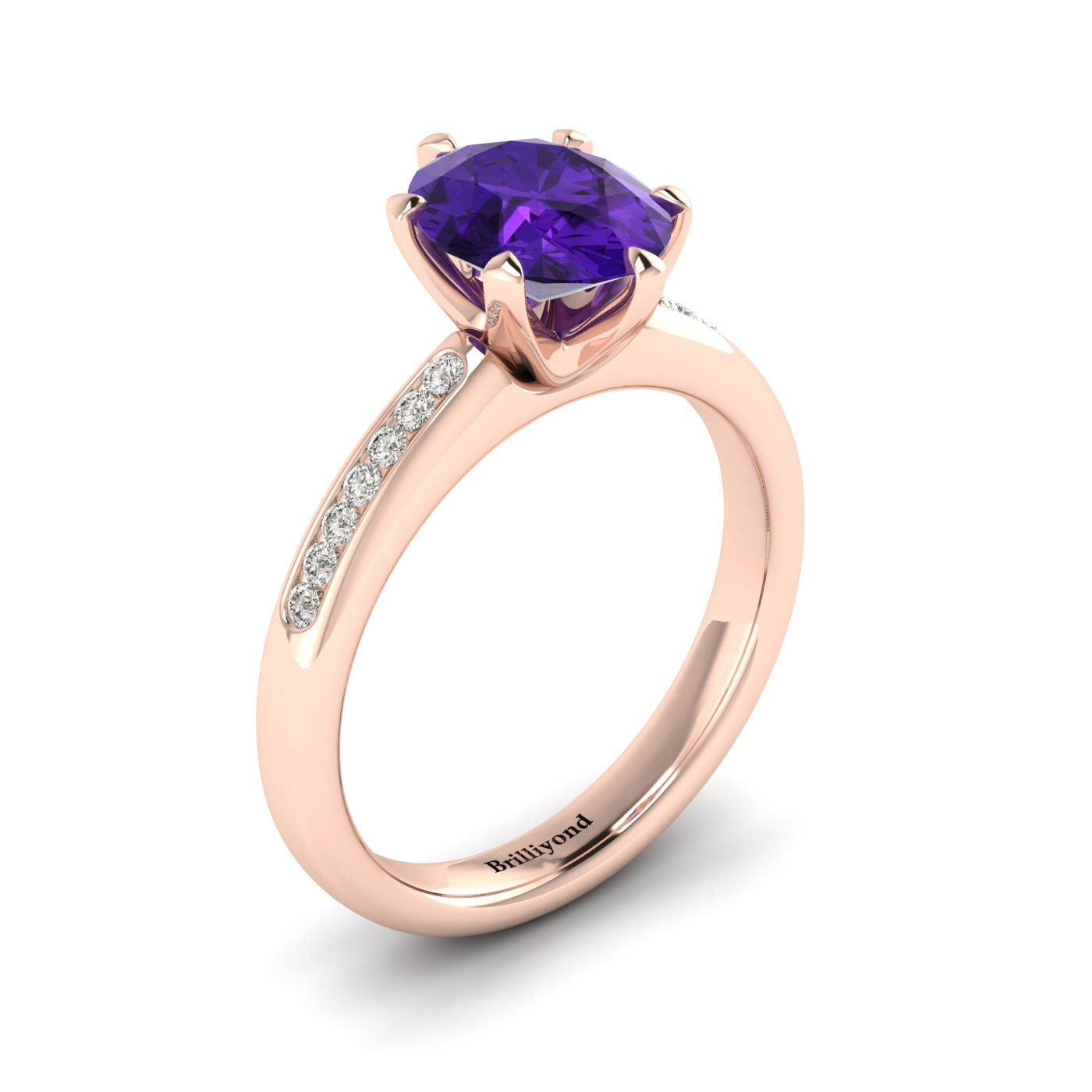 Amethyst Rose Gold Oval Engagement Ring Nymph_image2