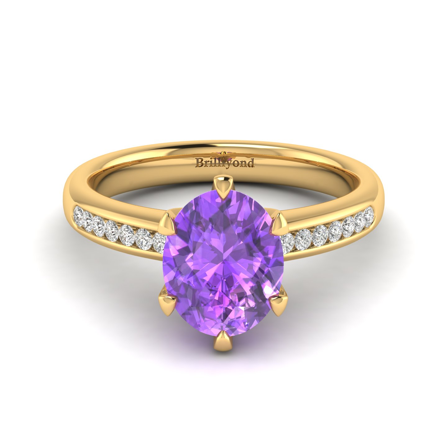 Amethyst Yellow Gold Oval Engagement Ring Nymph_image2