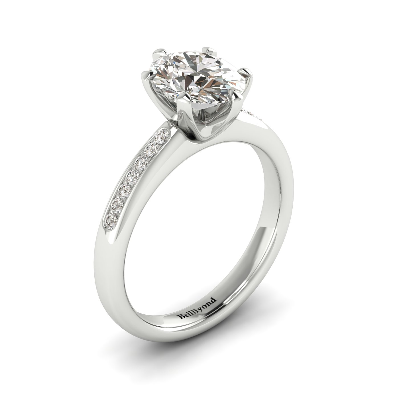 White Sapphire White Gold Oval Engagement Ring Nymph_image2