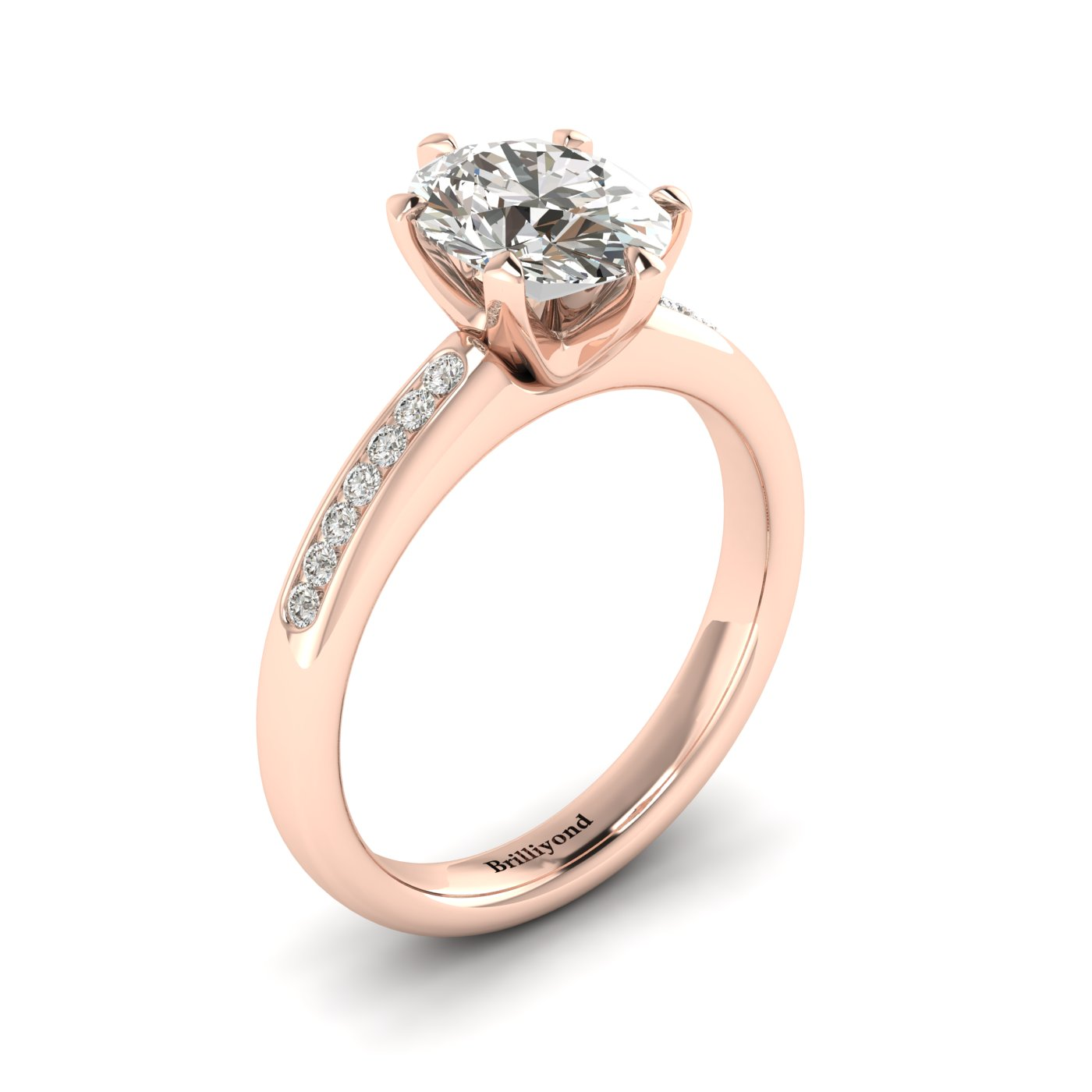 White Sapphire Rose Gold Oval Engagement Ring Nymph_image1