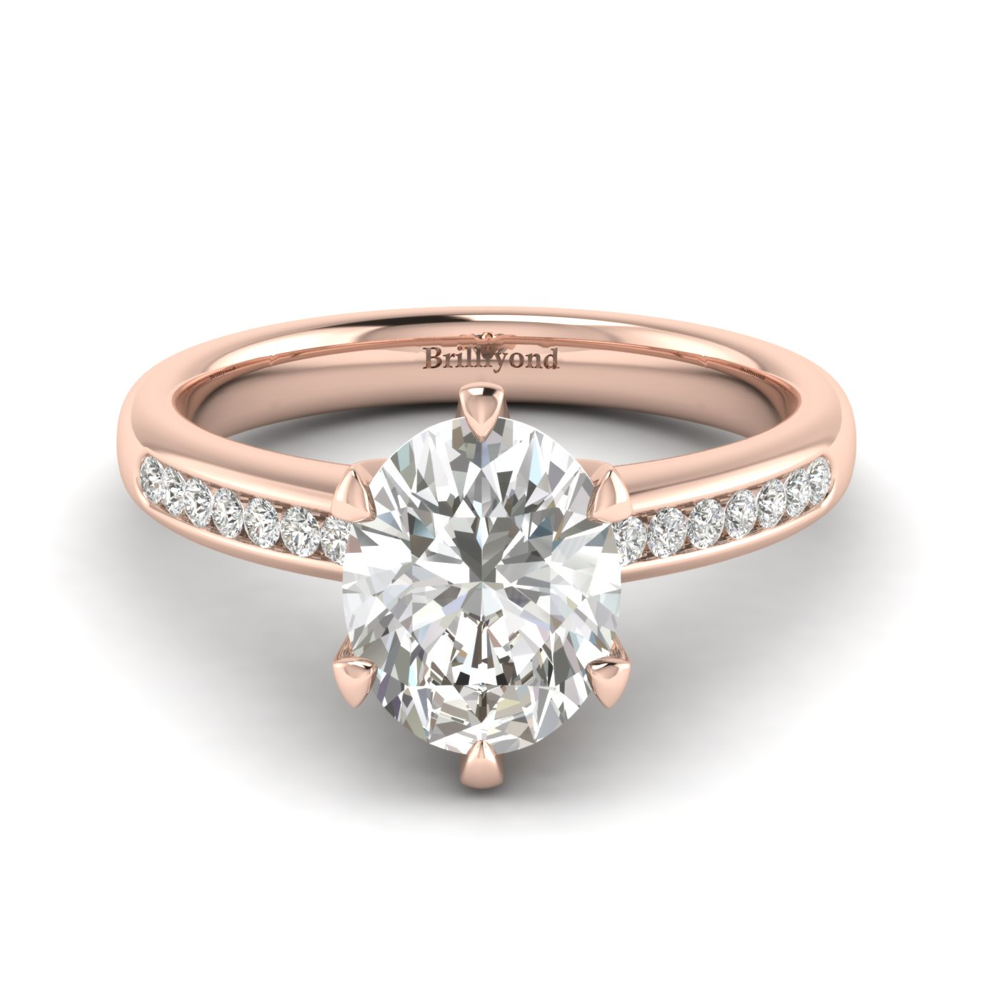 White Sapphire Rose Gold Oval Engagement Ring Nymph_image2