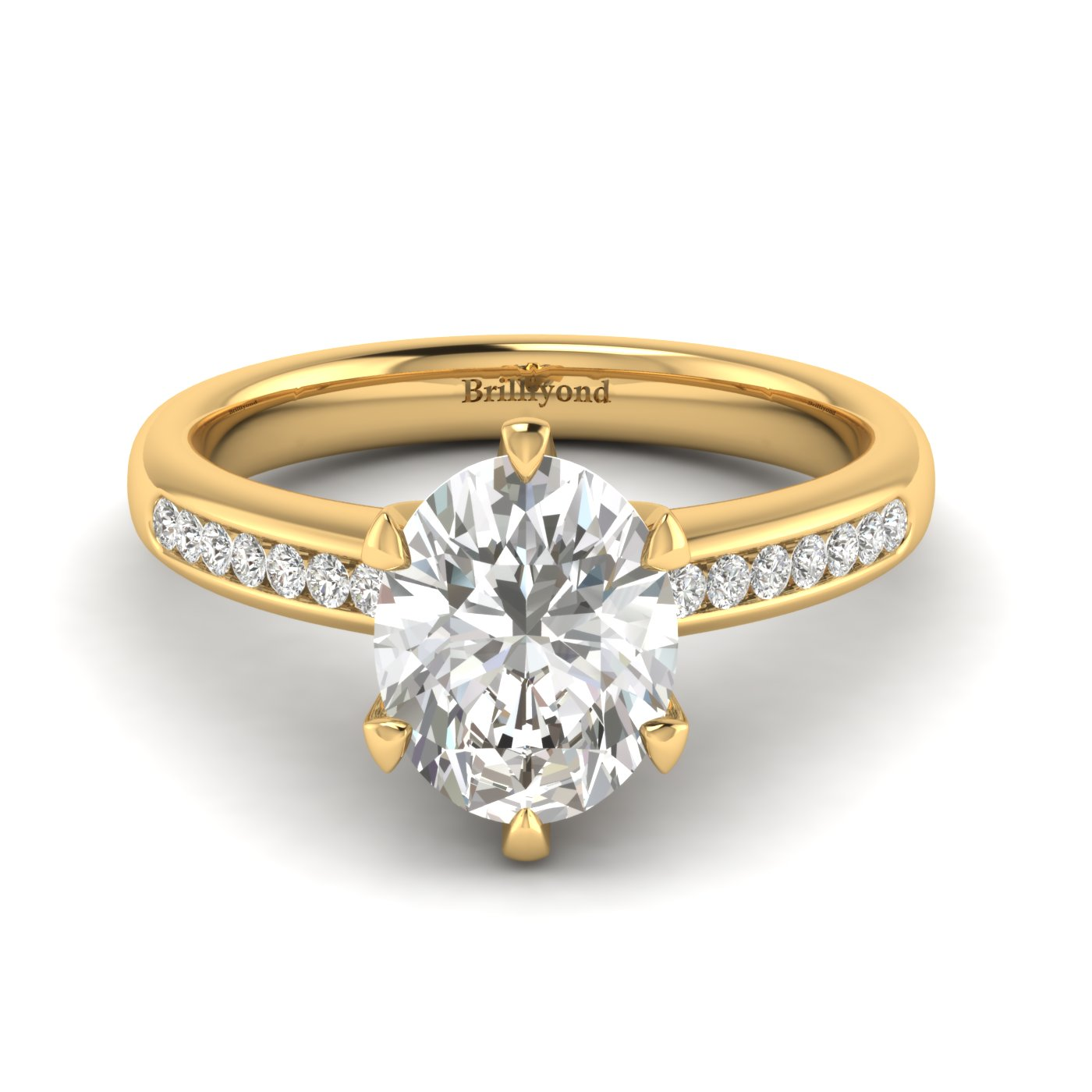 White Sapphire Yellow Gold Oval Engagement Ring Nymph_image1