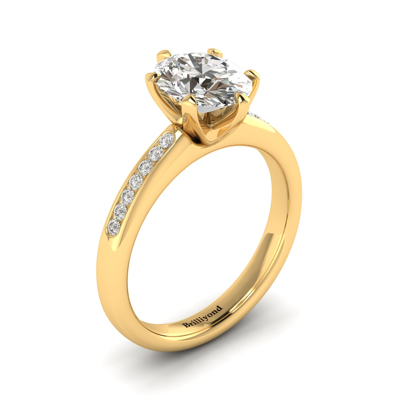 White Sapphire Yellow Gold Oval Engagement Ring Nymph_image2