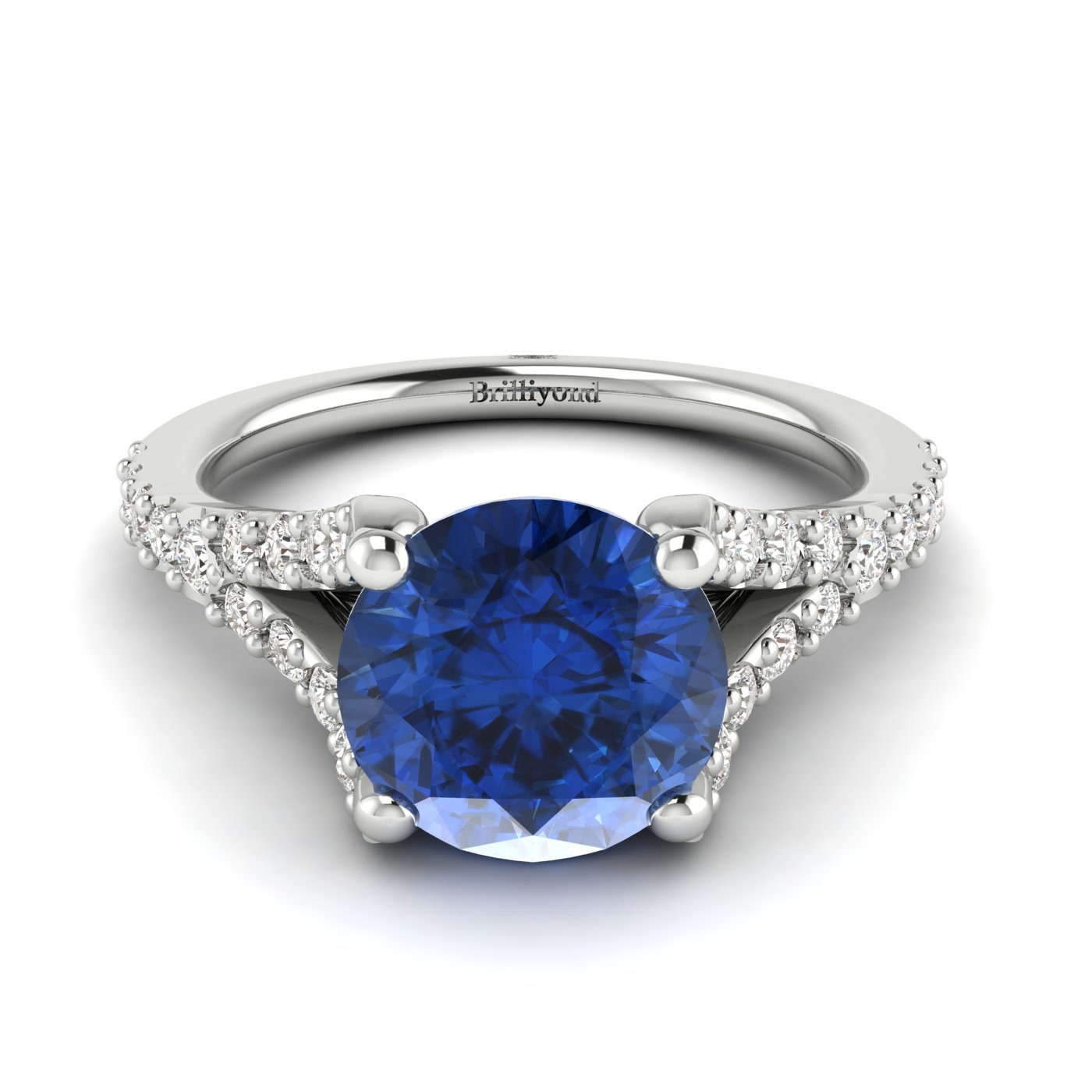 A magnificent blue Ceylon sapphire engagement ring in a solid 18k white gold band.