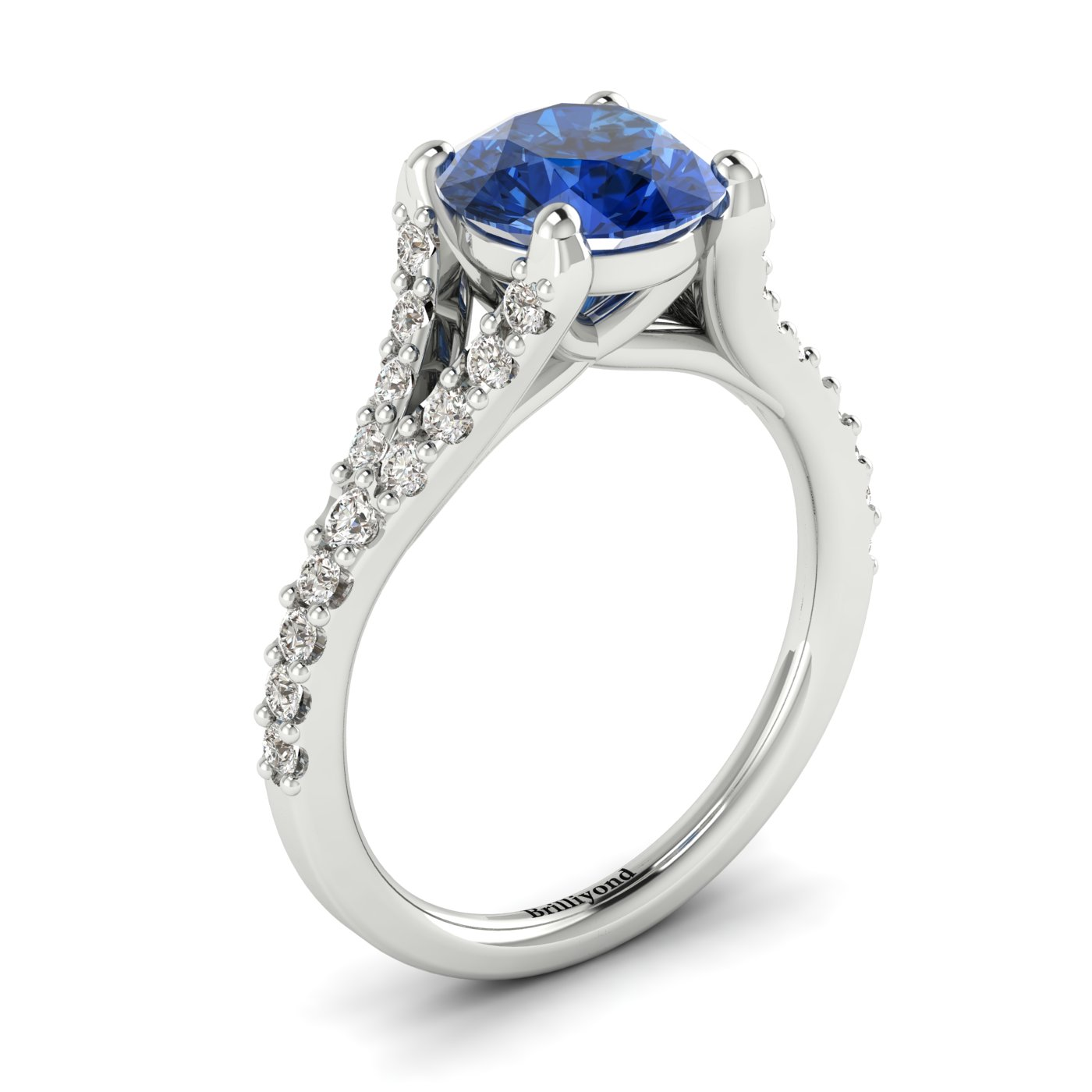 An exquisite sapphire engagement ring with 26 white cubic zirconia accent stones.