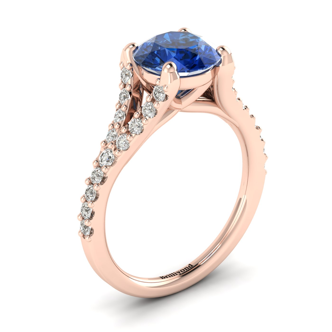 This Ceylon sapphire engagement ring has features 26 created diamond accent stones in a pavé split shank setting.