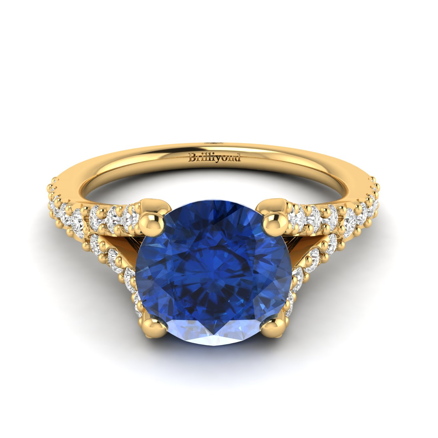 This Juliana inspired engagement ring features a round cut 6mm blue Ceylon sapphire centre stone.
