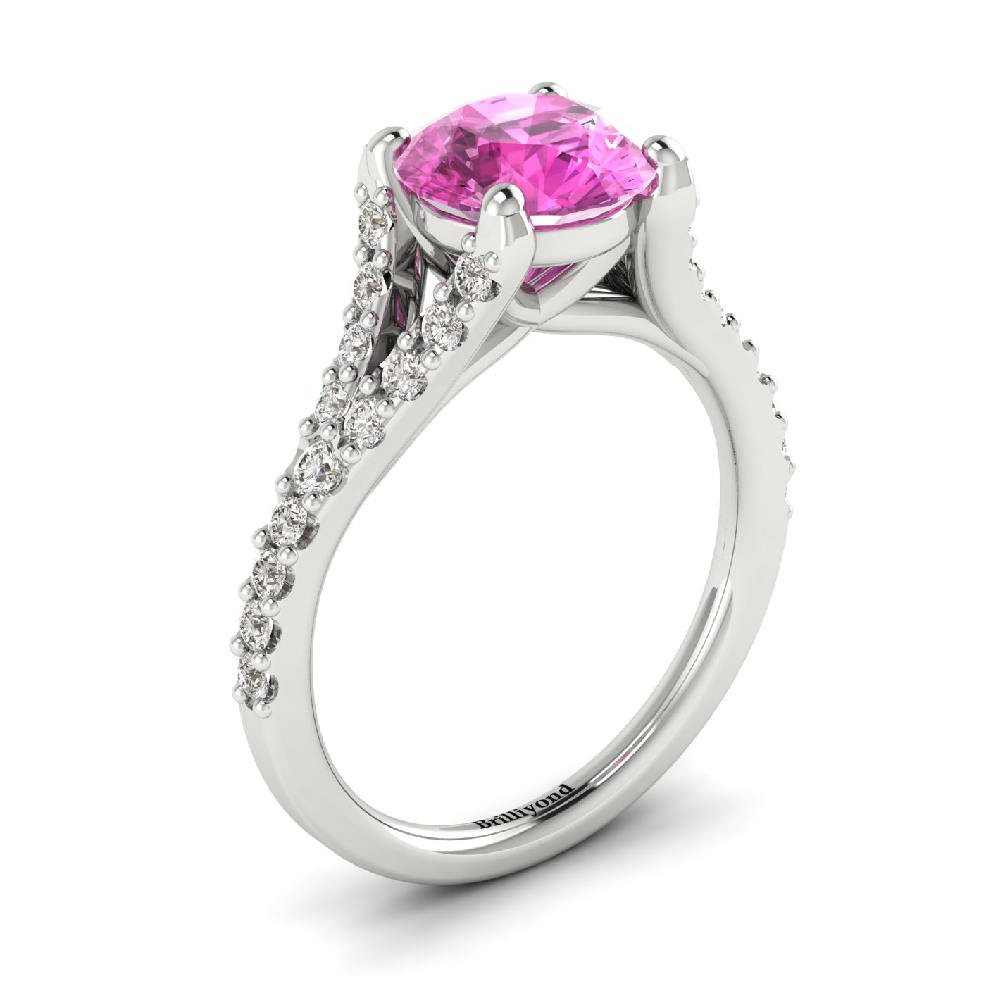 Affordable 18k white gold engagement ring with 6mm round cut pink sapphire centre stone.