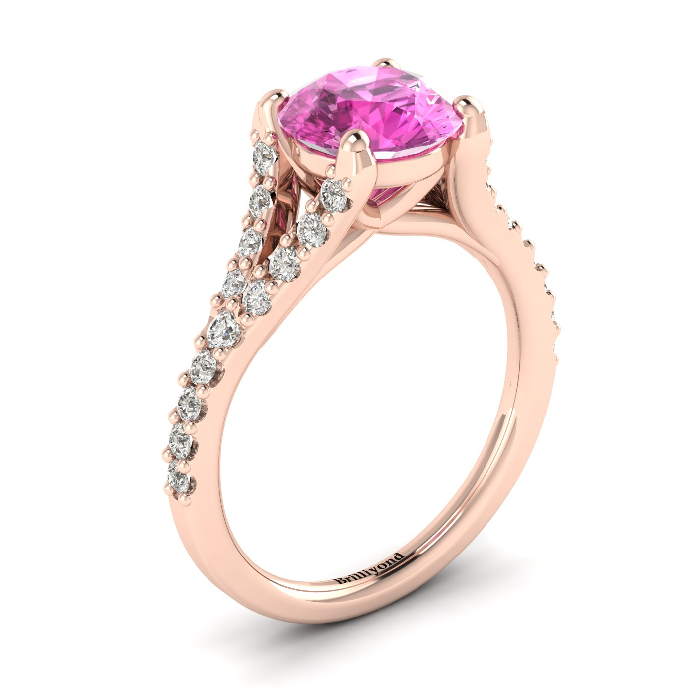 Magnificent rose gold engagement ring with natural pink Ceylon sapphire centre stone.