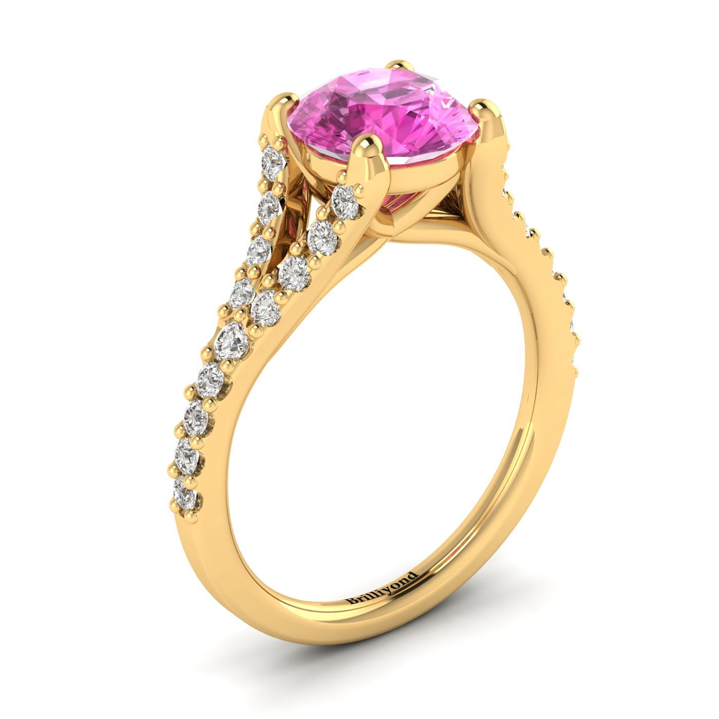 18k yellow gold engagement ring in a spectacular pavé split shank setting.