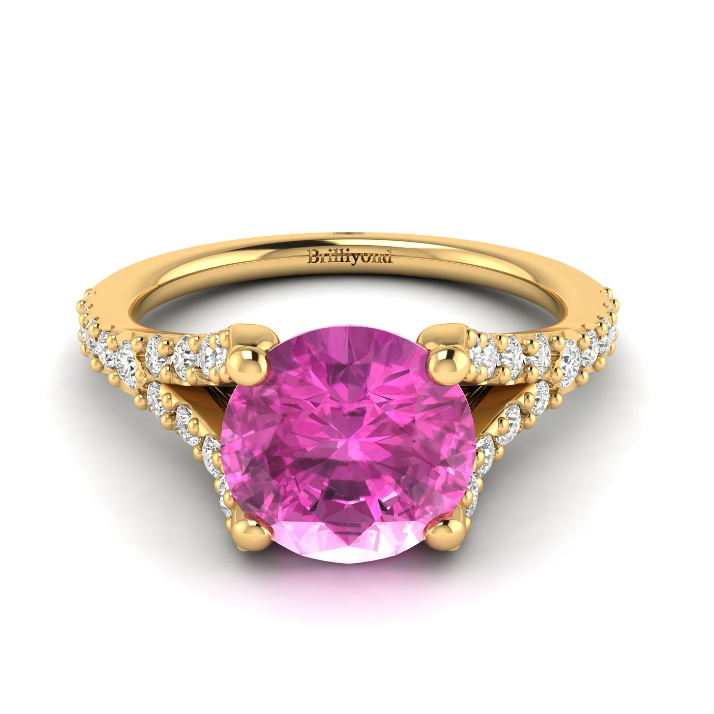 A natural pink Ceylon sapphire centre stone with 26 white created diamond accent stones.