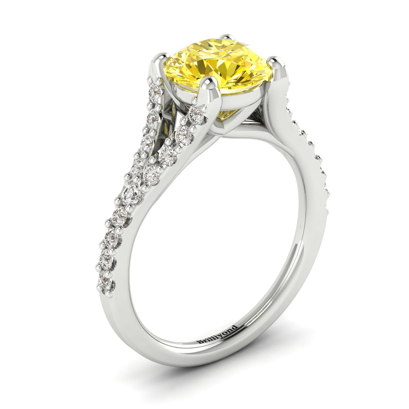 Juliana engagement ring featuring a 6mm round cut yellow Ceylon sapphire in four prongs.