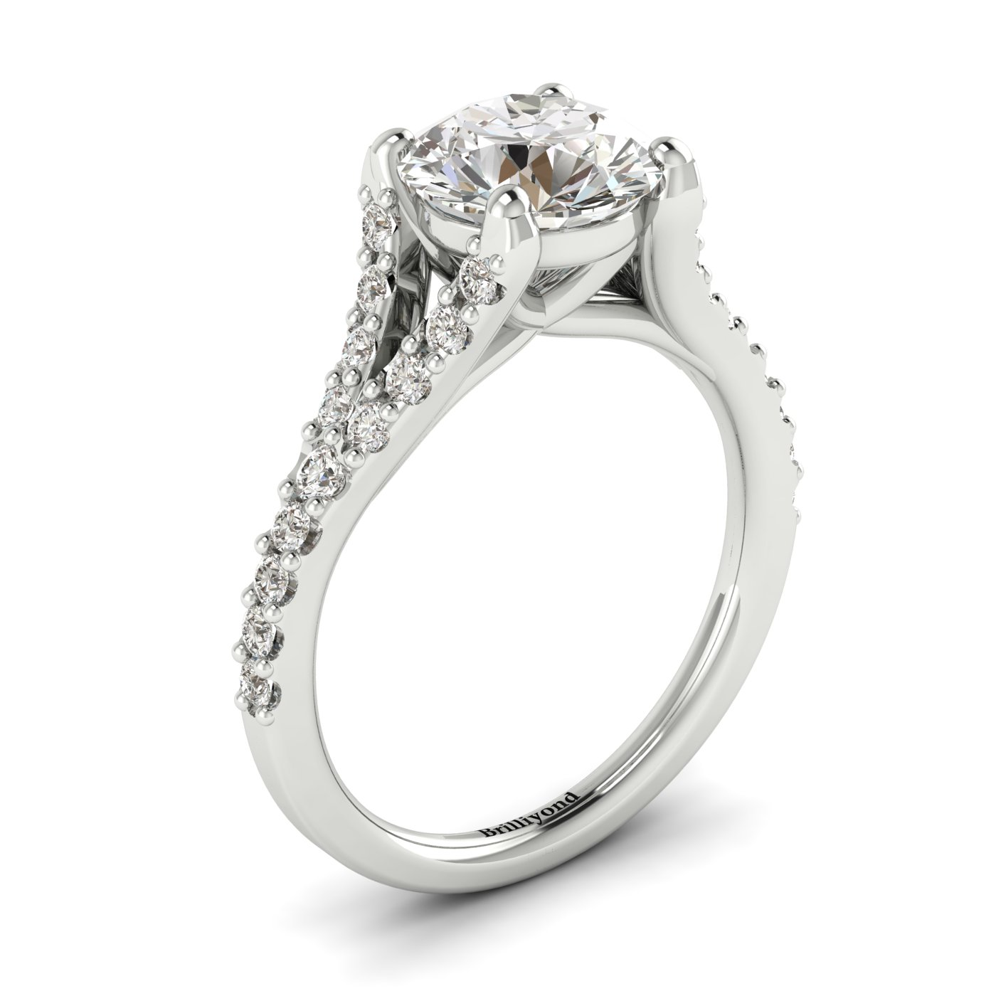 A white gold engagement ring with a round cut genuine diamond centre stone.