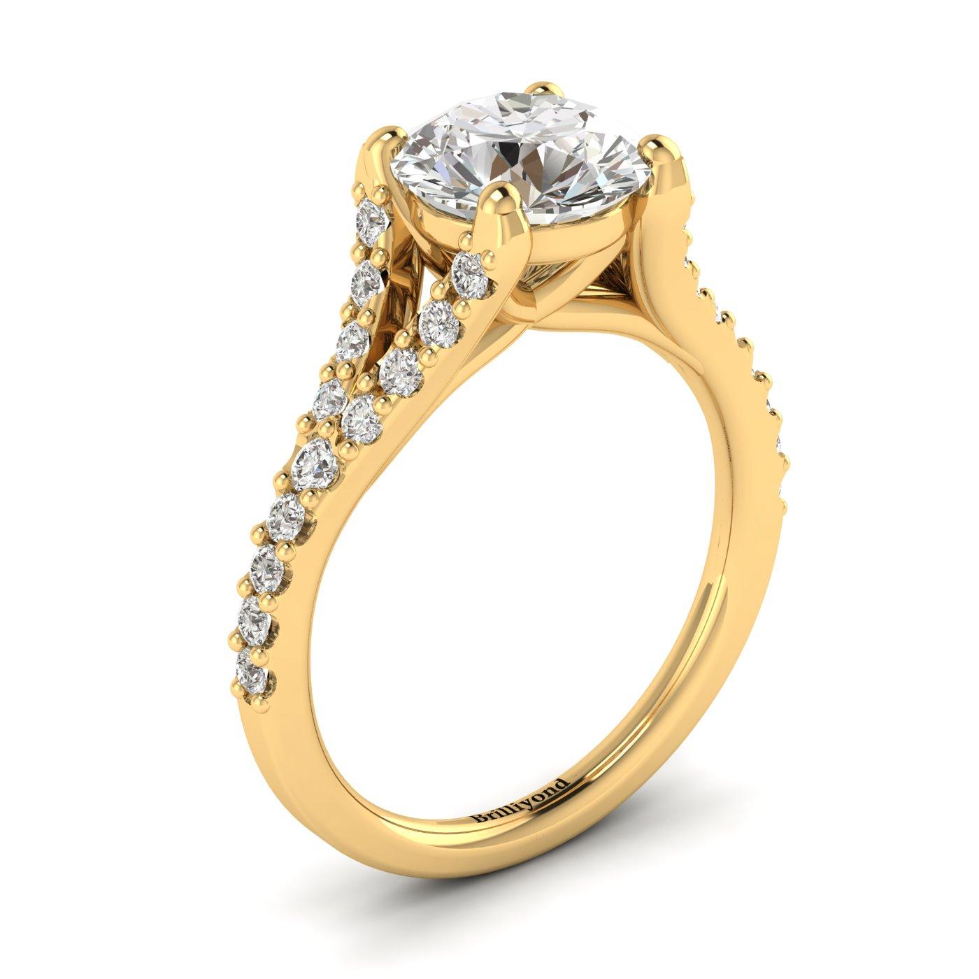 Original design Australian diamond engagement ring in 18k yellow gold band.