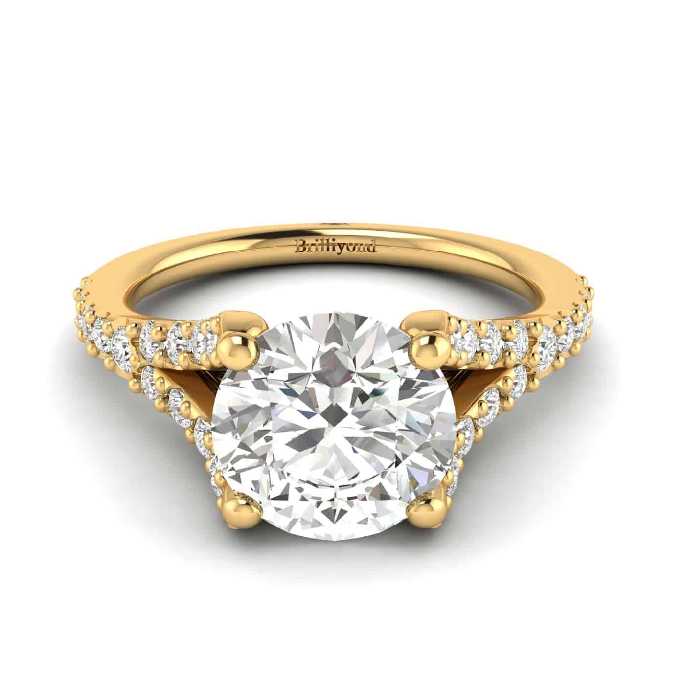 Shimmering 26 white created diamond accent stones in a mesmerising pavé split shank setting.
