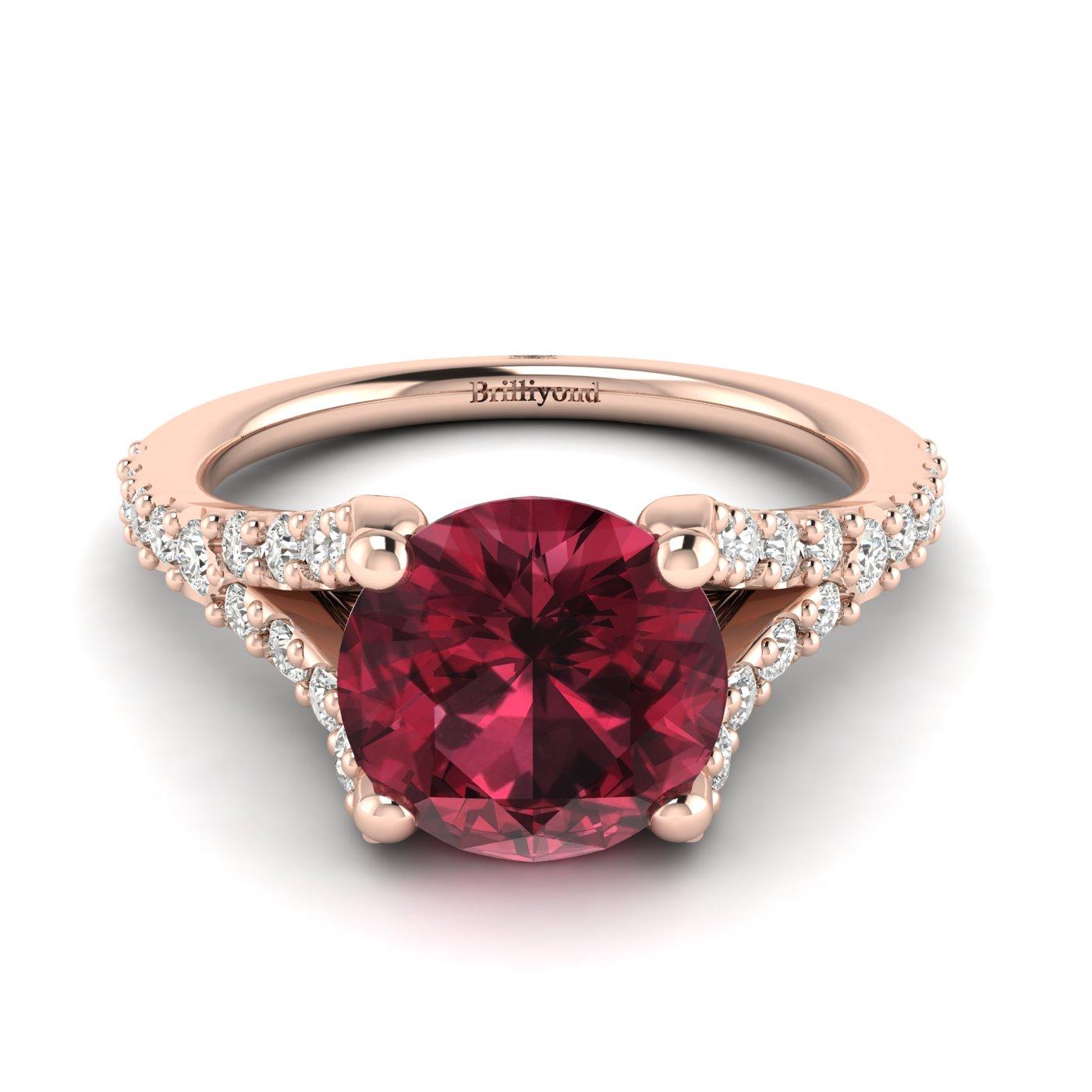 A unique Juliana engagement ring featuring a pavé split shank setting.