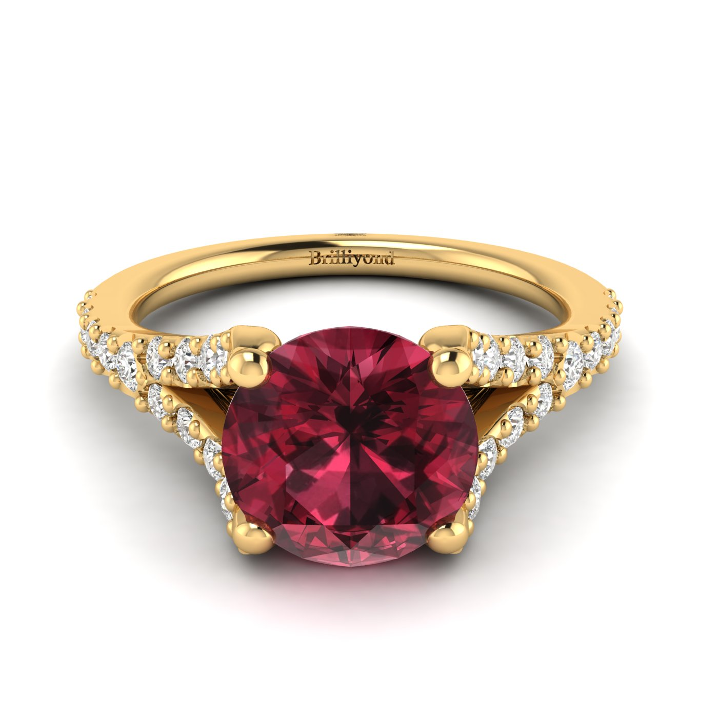 This Juliana inspired engagement ring features a round cut 6mm red garnet centre stone.
