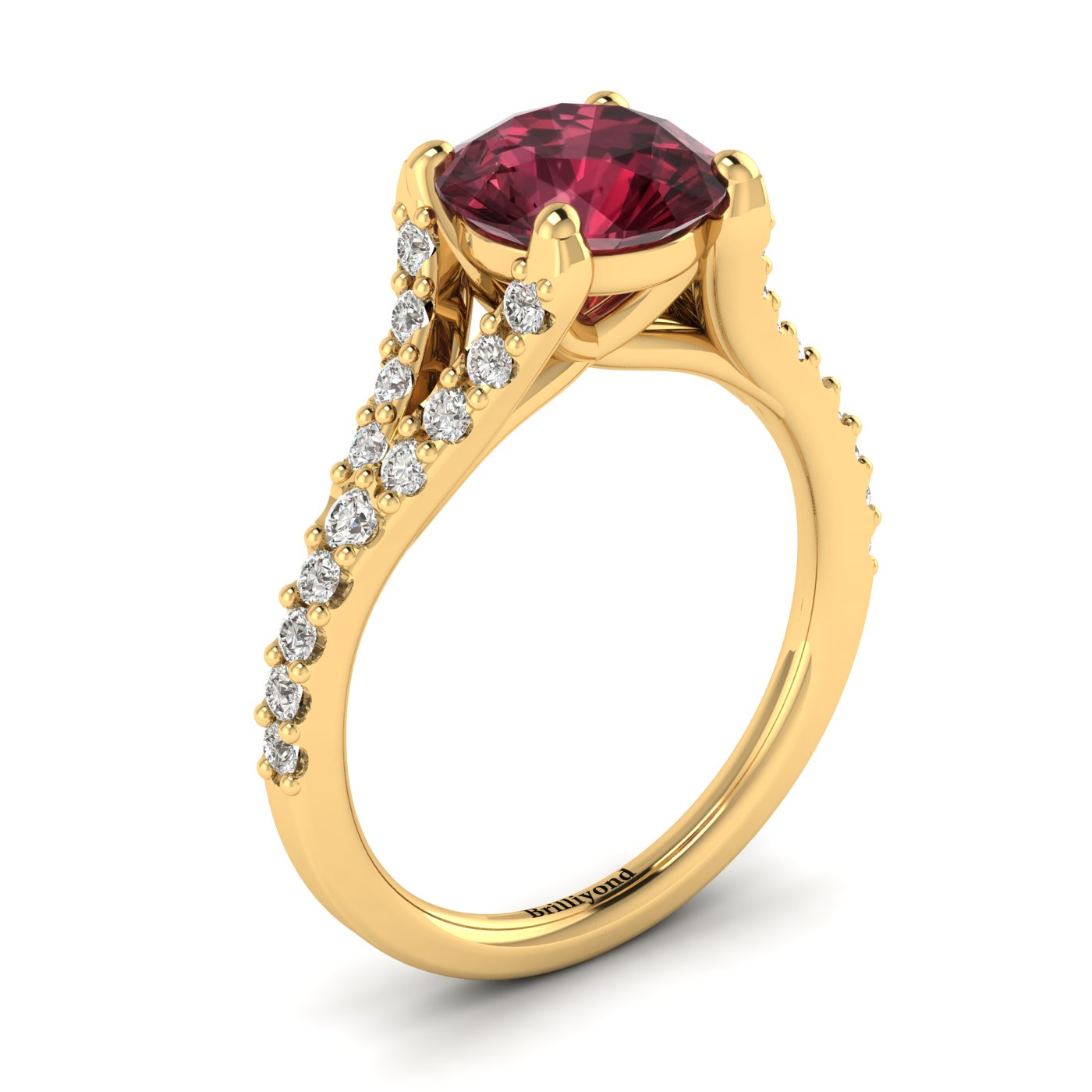 This 18k yellow gold engagement ring has features 26 created diamond accent stones in a pavé split shank setting.