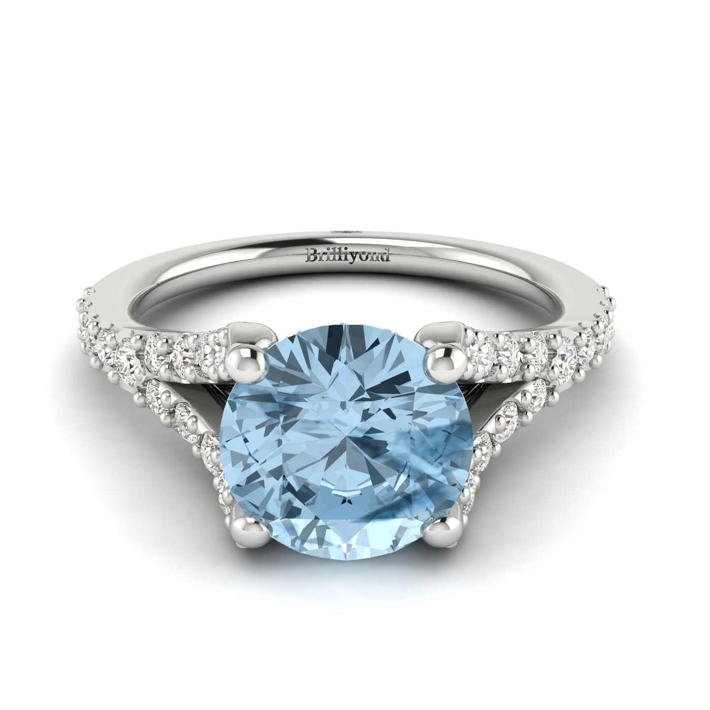 A white gold engagement ring with 6mm round cut natural aquamarine centre stone.