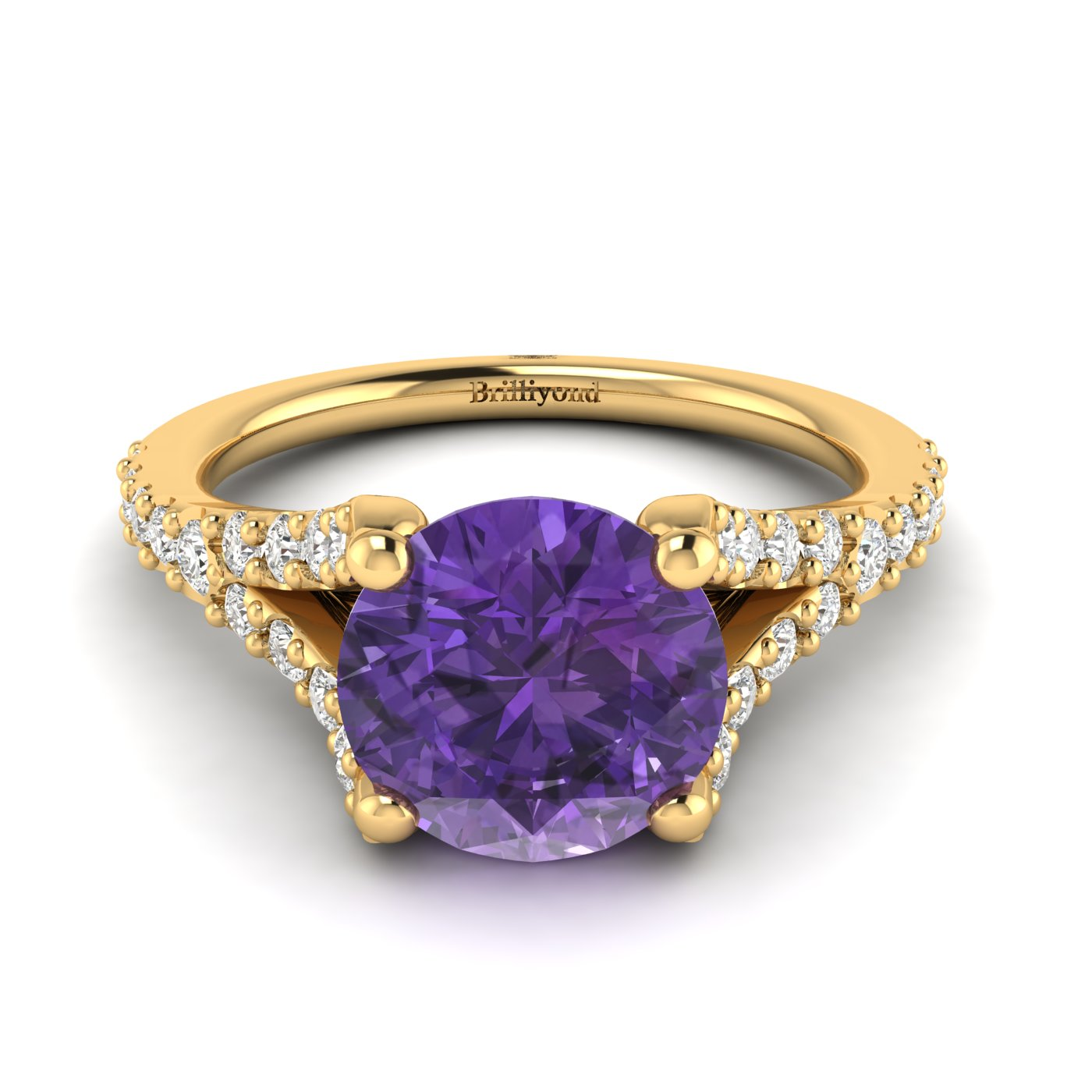A natural round cut amethyst in four prongs handset in a solid 18k yellow gold band.