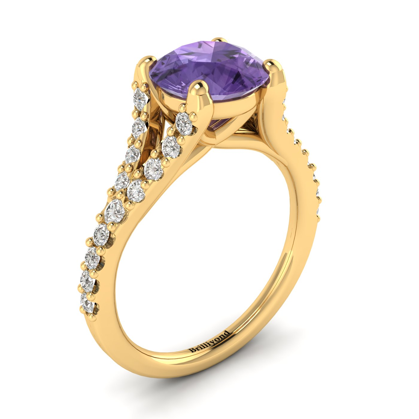 A Juliana inspired yellow gold engagement ring with 26 white cubic zirconia accent stones.