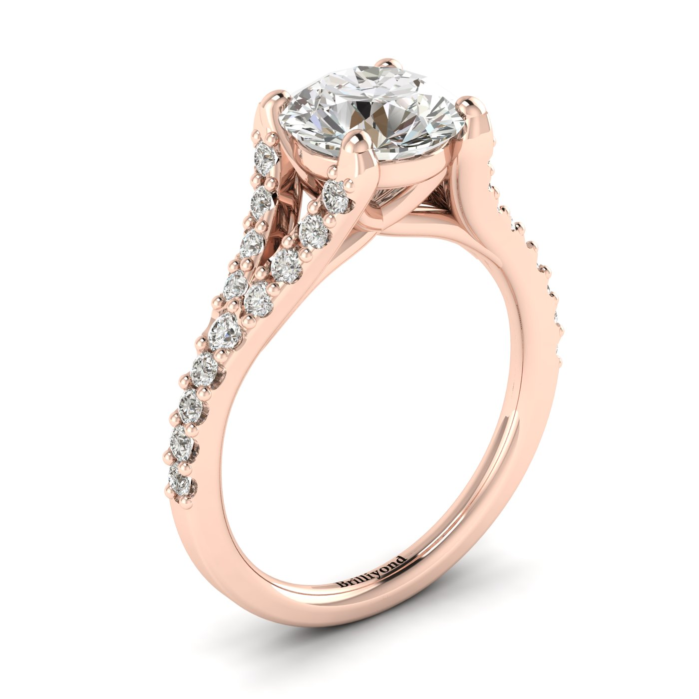 Juliana engagement ring with a classic pavé split shank set white created diamond accent stones.