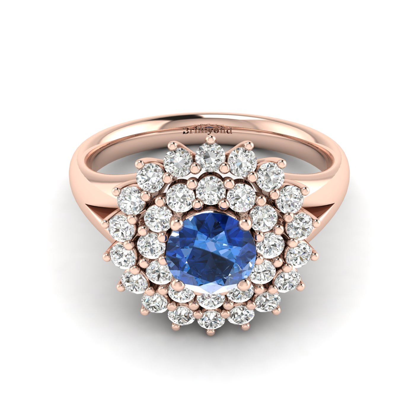 Blue Sapphire Rose Gold Cluster Engagement Ring Aquila