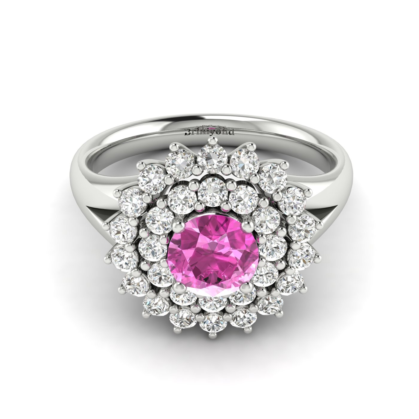 Pink Sapphire White Gold Cluster Engagement Ring Aquila_image2