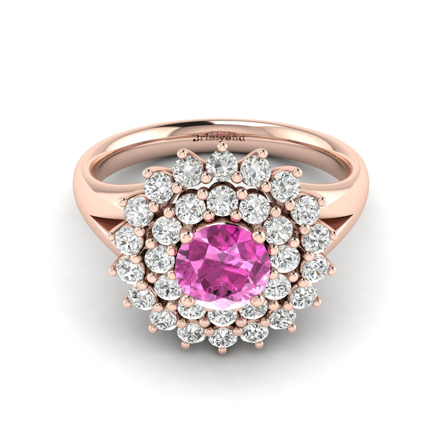 Pink Sapphire Rose Gold Cluster Engagement Ring Aquila_image1