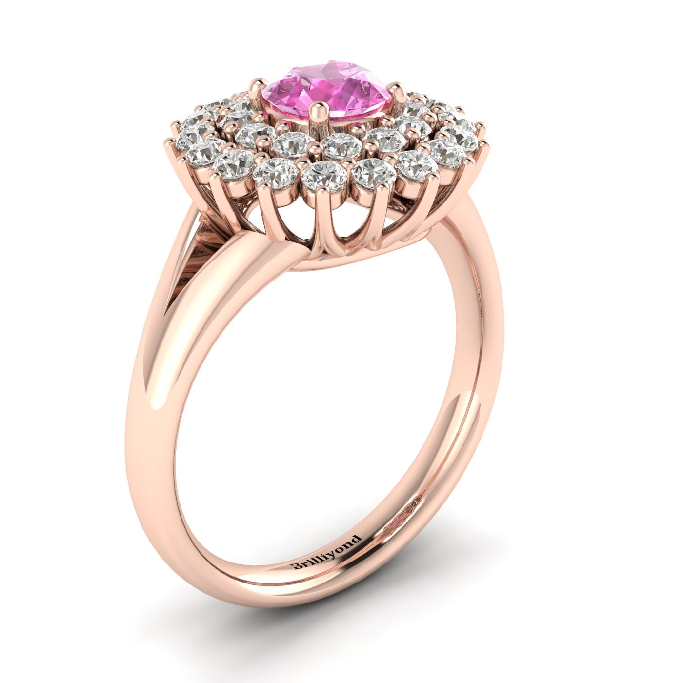Pink Sapphire Rose Gold Cluster Engagement Ring Aquila_image2