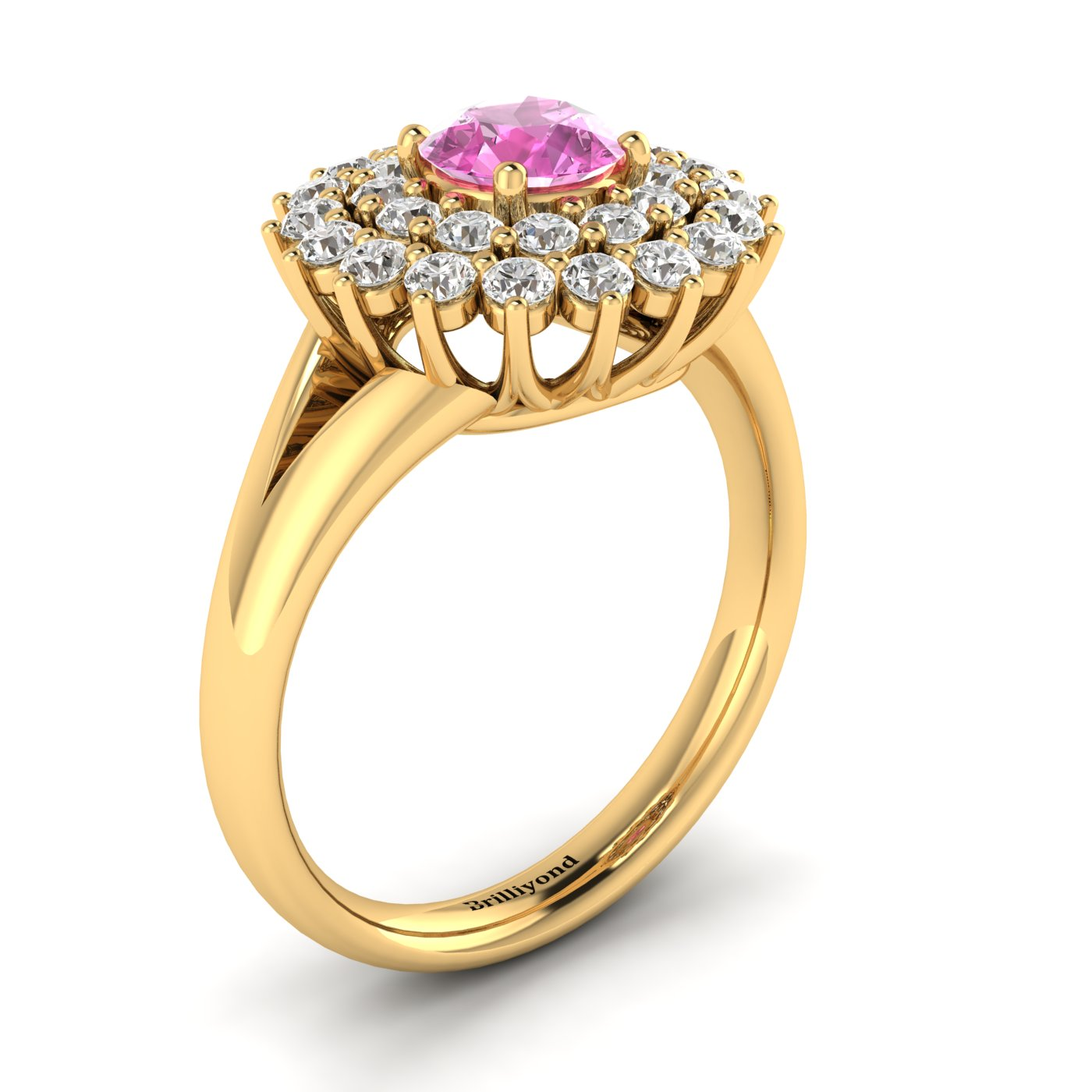 Pink Sapphire Yellow Gold Cluster Engagement Ring Aquila_image1