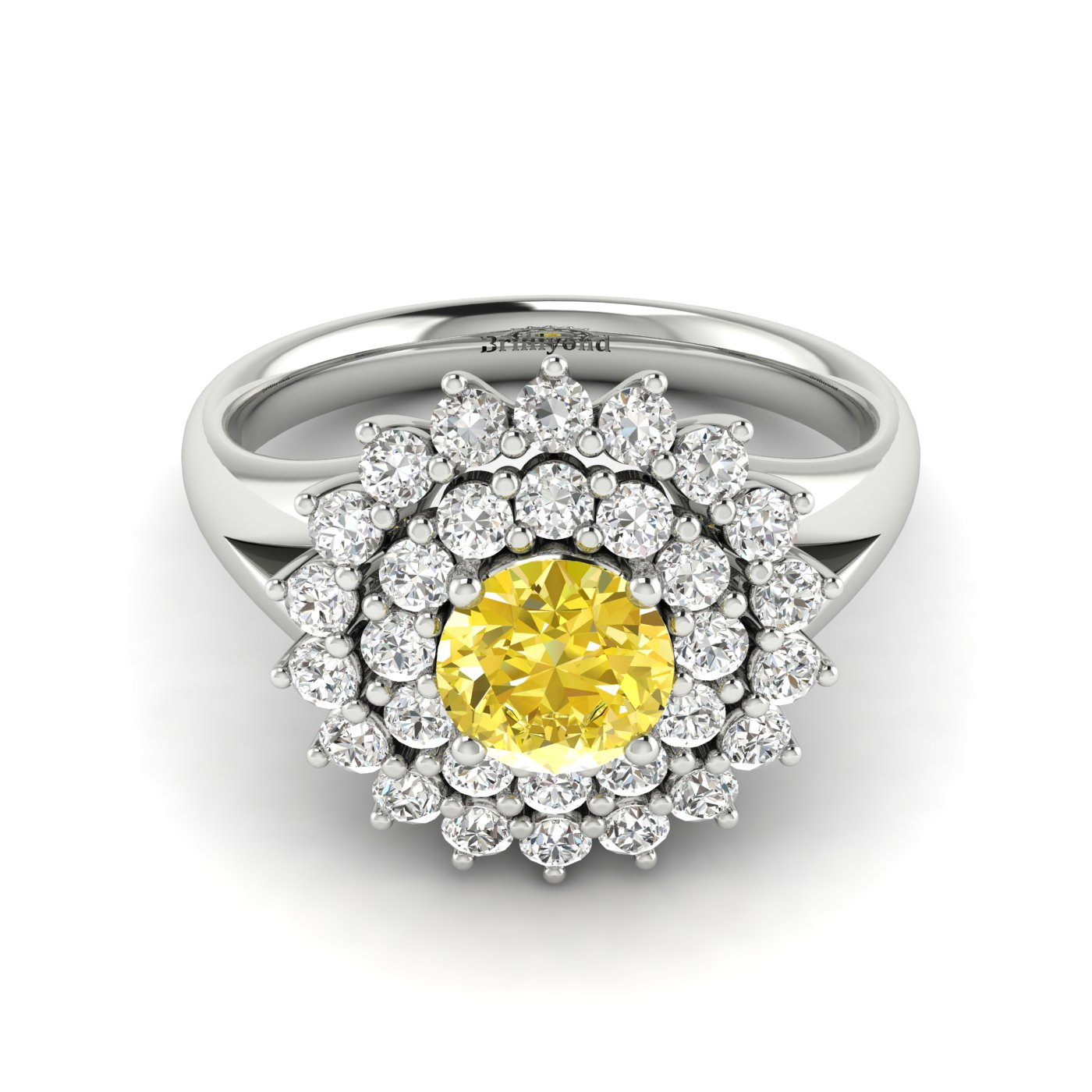 Yellow Sapphire White Gold Cluster Engagement Ring Aquila_image1