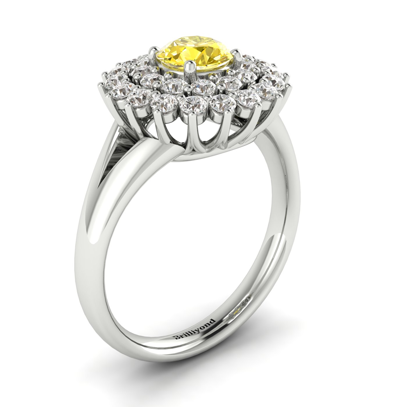 Yellow Sapphire White Gold Cluster Engagement Ring Aquila_image2
