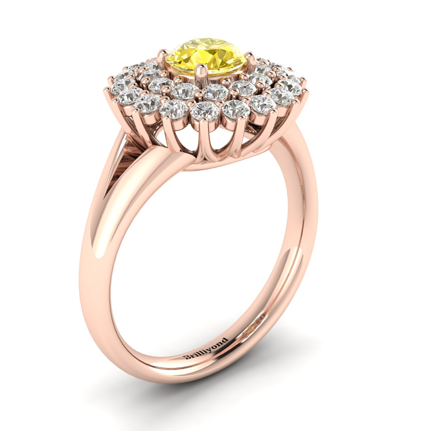 Yellow Sapphire Rose Gold Cluster Engagement Ring Aquila_image1