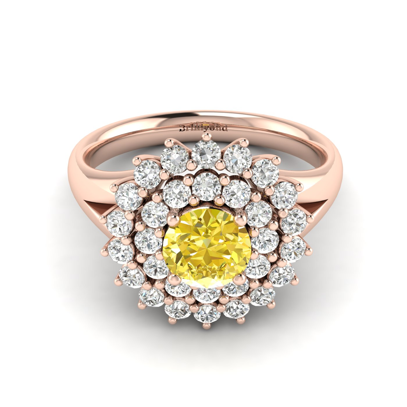 Yellow Sapphire Rose Gold Cluster Engagement Ring Aquila_image2