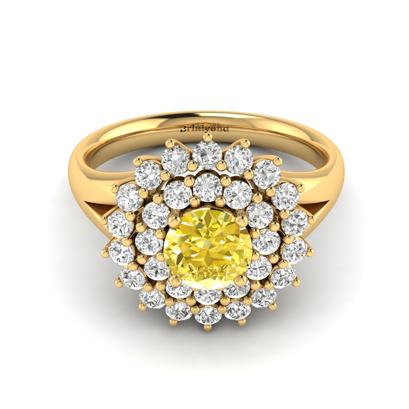 Yellow Sapphire Yellow Gold Cluster Engagement Ring Aquila_image1