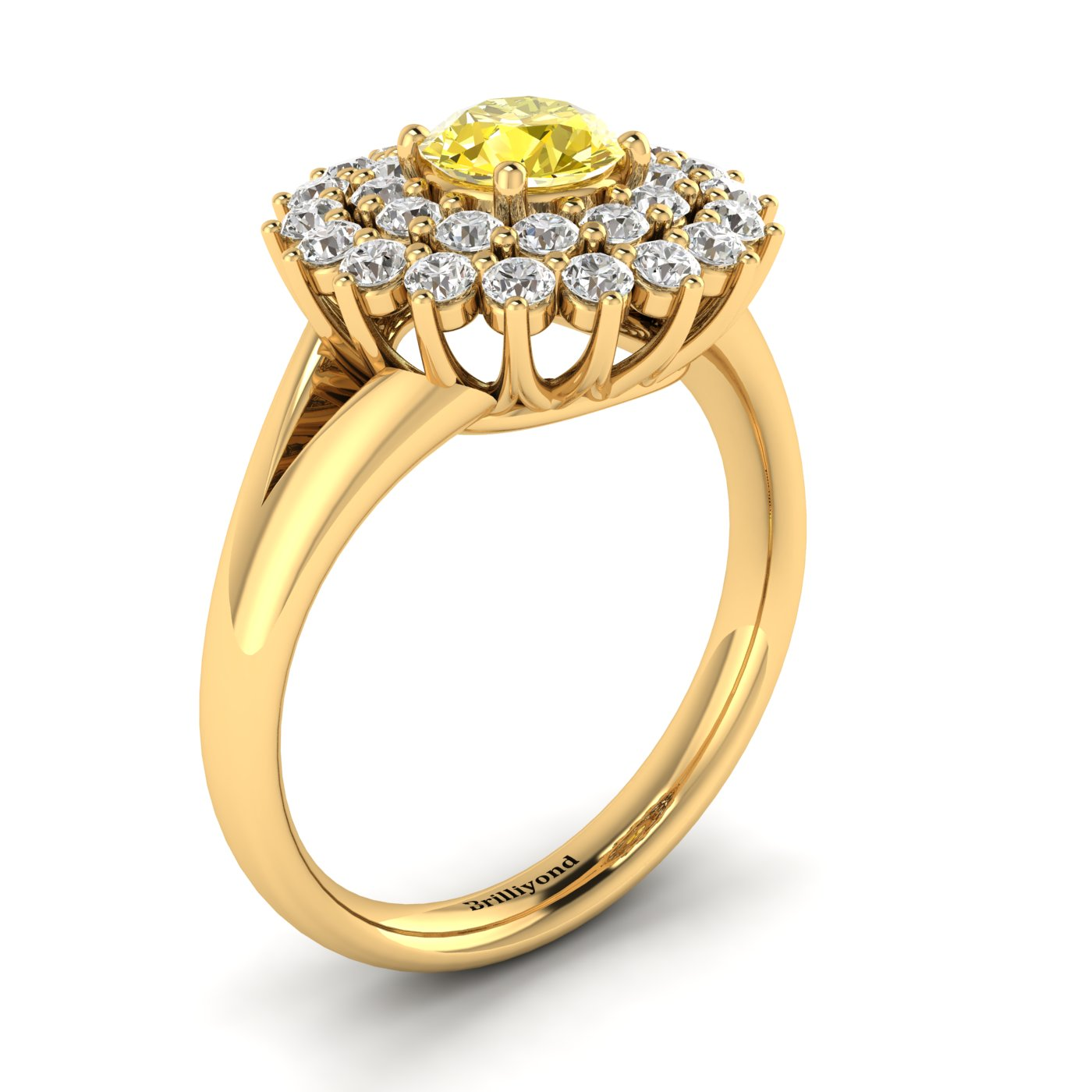 Yellow Sapphire Yellow Gold Cluster Engagement Ring Aquila_image2