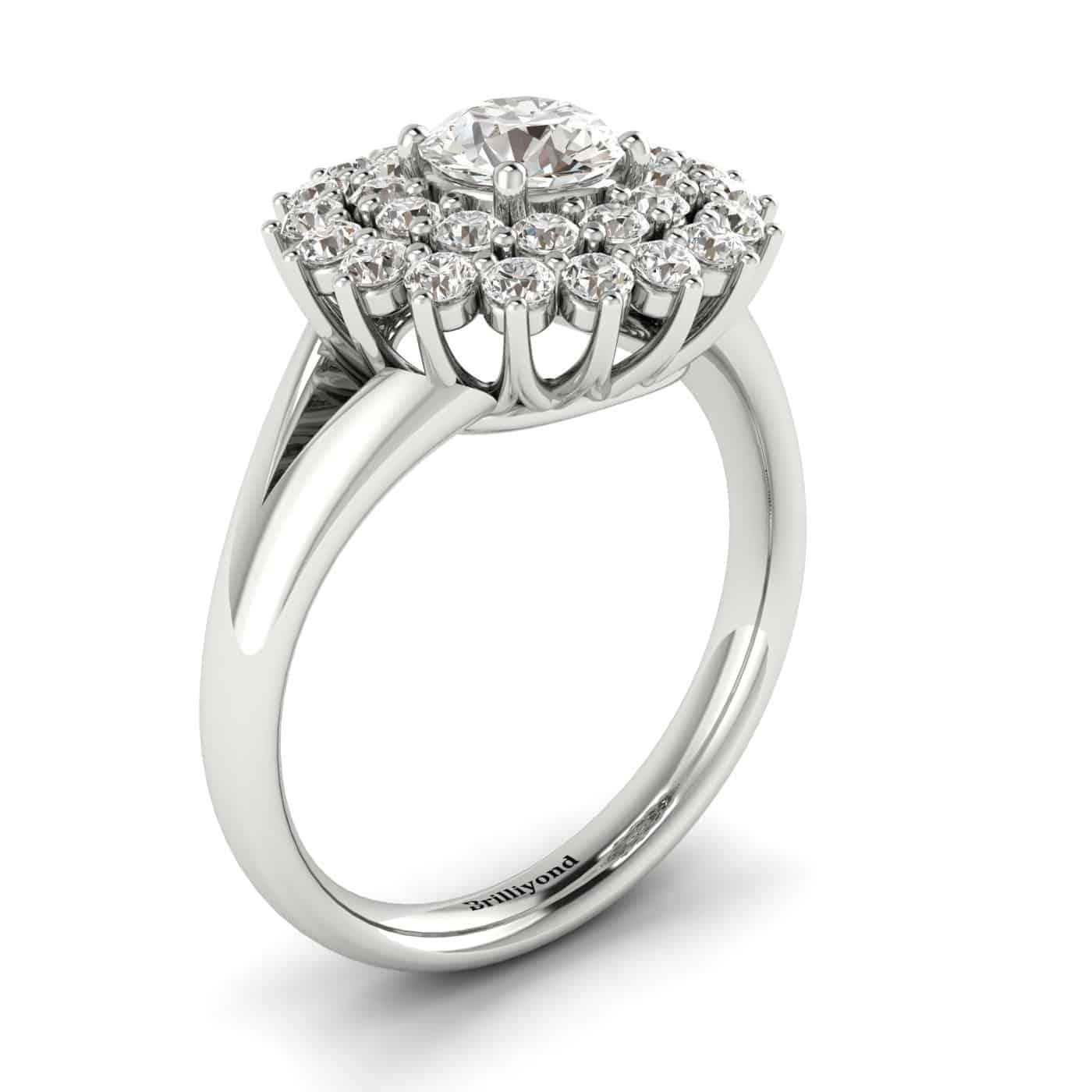 Diamond White Gold Cluster Engagement Ring Aquila_image1