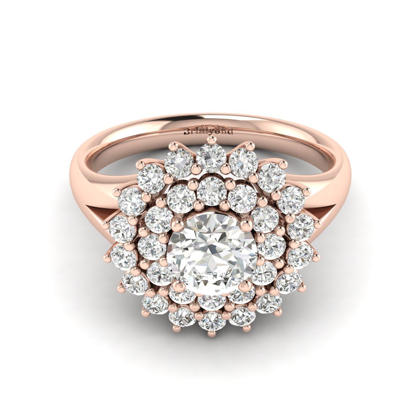 Diamond Rose Gold Cluster Engagement Ring Aquila_image1