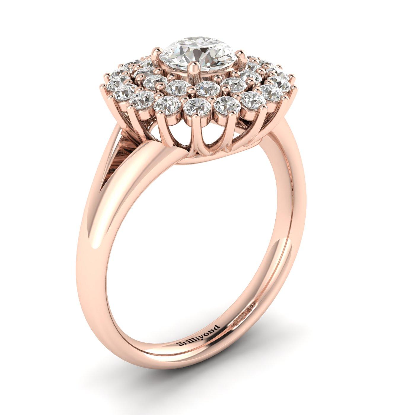 Diamond Rose Gold Cluster Engagement Ring Aquila_image2