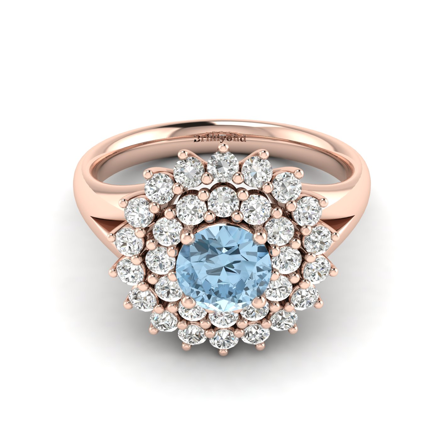 Aquamarine Rose Gold Cluster Engagement Ring Aquila_image2