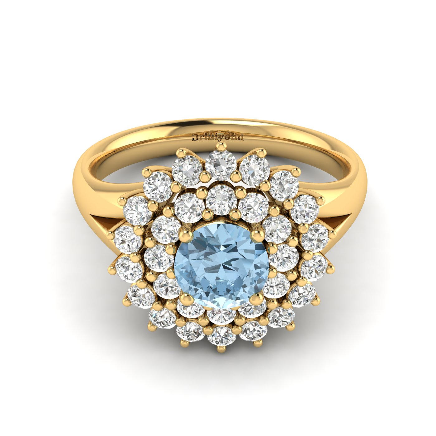 Aquamarine Yellow Gold Cluster Engagement Ring Aquila_image1