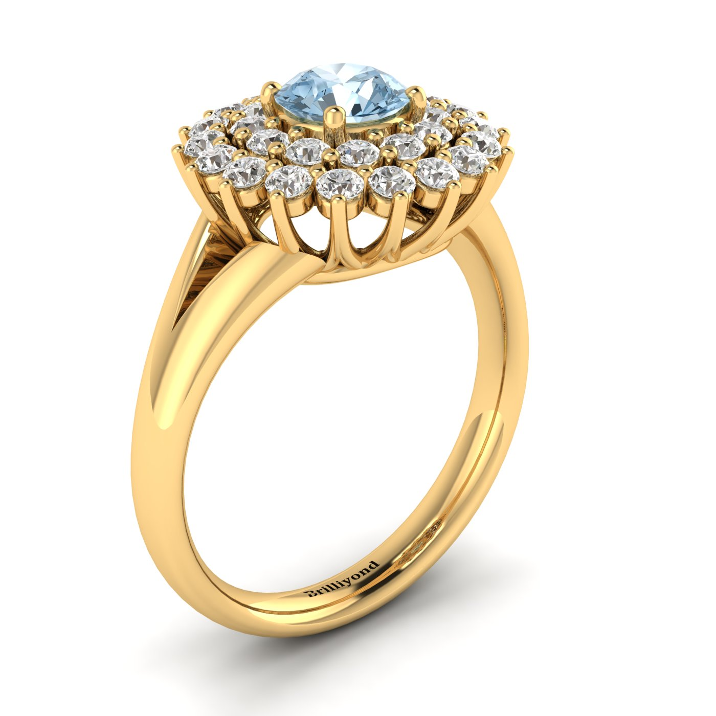 Aquamarine Yellow Gold Cluster Engagement Ring Aquila_image2
