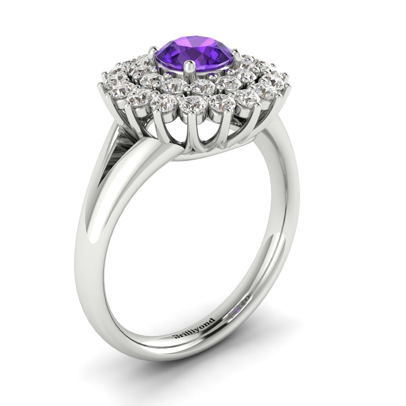 Amethyst White Gold Cluster Engagement Ring Aquila_image1